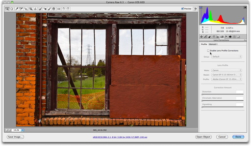 Adobe Camera Raw Lens Correction Off