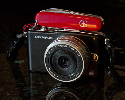 Olympus PEN E-PM1 with Swiss Army Knife
