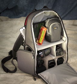 Packed Lowepro Transit Sling 250 AW
